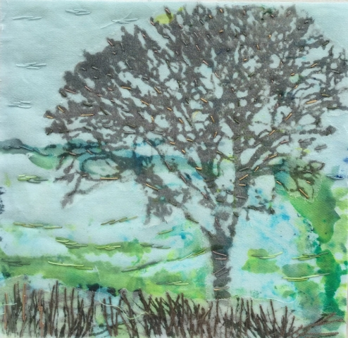 Tree on Blue 1 (12cm x 12 cm) £20