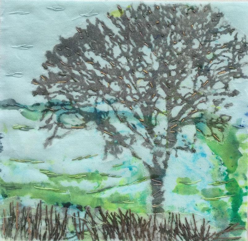 Tree on Blue 1 (12cm x 12 cm) £20