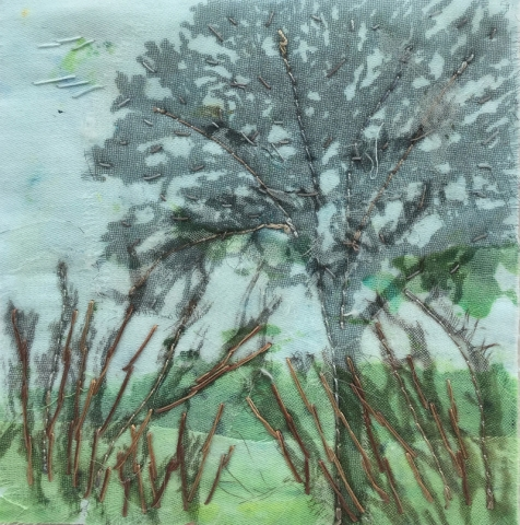 Tree on Blue 3 (10cm x 10cm)  £15