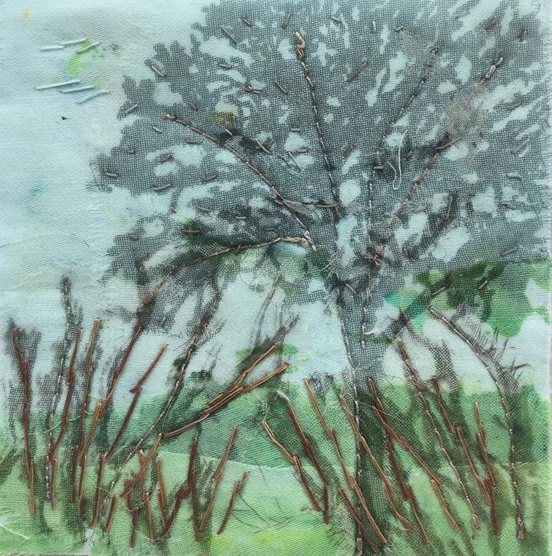 Tree on Blue 3 (10cm x 10cm)  £15
