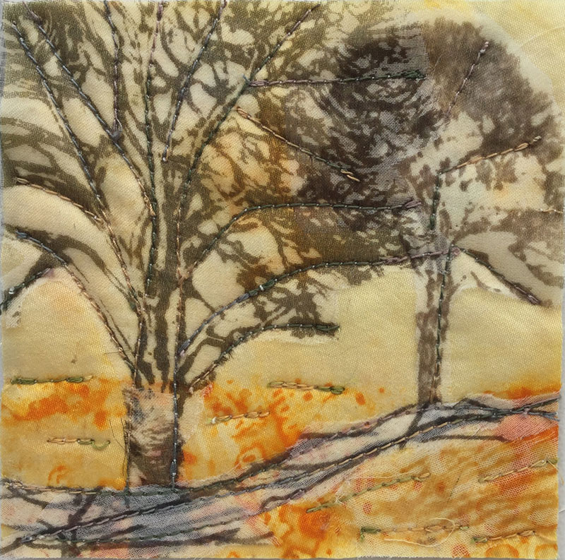 Tree on Orange 3 (10cm x10cm)  £15