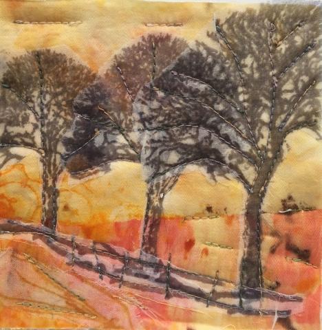 Tree on Orange 4 (12cm x 12cm)  £20